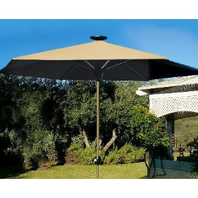 The Solar-Powered Lighted Patio Umbrella - Hammacher Schlemmer